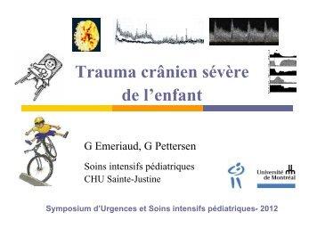 Trauma crânien sévère de l'enfant - CHU Sainte-Justine - SAAC