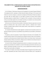 Reglamento para la Prestacion de Servicio Publico de Rastros - H ...