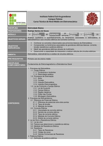 Instituto Federal Sul-rio-grandense Campus Pelotas Curso Técnico ...