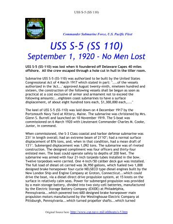 USS S-5 (SS 110) - ColumbusBase