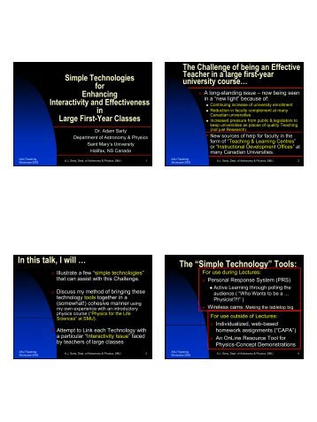 slides - Astronomy & Physics - Saint Mary's University
