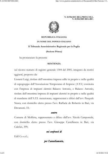 TAR Puglia Bari sez. I 27/9/2011 n. 1396. - Appalti e Contratti