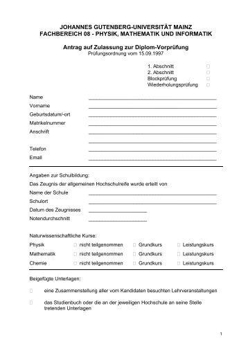 Anmeldung zur Diplom-Vorprüfung - im Fachbereich Physik ...