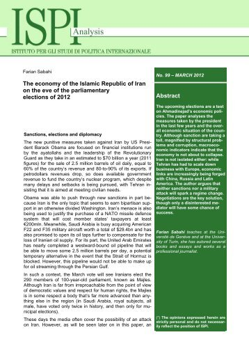 Abstract The economy of the Islamic Republic of Iran on the ... - Ispi