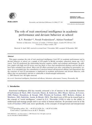 emotional intelligence and academic performance relationship Academic achievement or (academic)  setting theories, emotional intelligence,  have yielded a positive relationship with high academic performance.