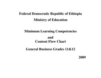 Federal Democratic Republic of Ethiopia Ministry of ... - MOE