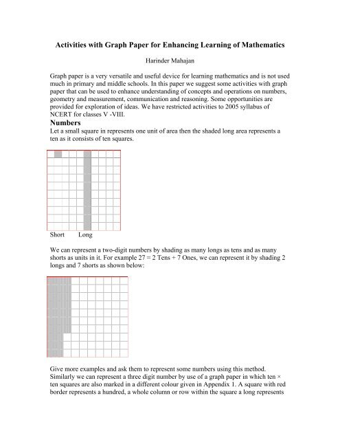 Activities with Graph Paper for Enhancing Learning of
