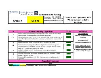 Mathematics Pacing Grade: 4 Unit #1