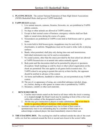 Section 151 Basketball Rules - tapps
