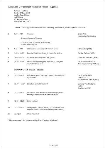 Agenda - National Statistical Service