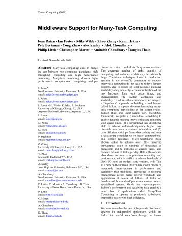 Middleware Support for Many-Task Computing - ResearchGate