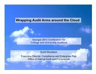 Wrapping Audit Arms around the Cloud - University System of Georgia