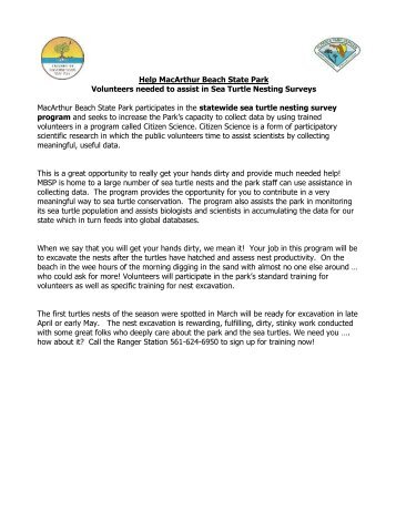 Help MacArthur Beach State Park Volunteers needed to assist in ...