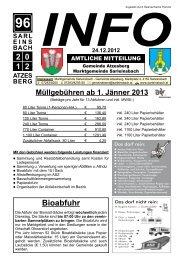 Info 96/2012 vom 24.12.2012 - Marktgemeinde Sarleinsbach