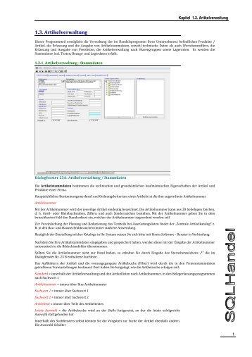 1.3. Artikelverwaltung - Format Software GmbH