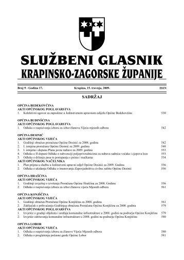 Službeni glasnik br. 9/2009. - Općina Konjščina