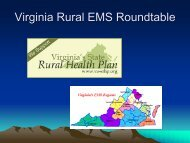 Rural and Frontier EMS Agenda for the Future - Virginia's State ...