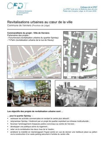 Revitalisations urbaines au cœur de la ville - cpdt.wallonie.be