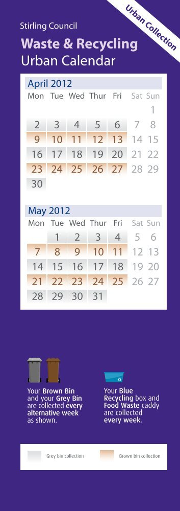 Waste & Recycling Urban Calendar - Stirling Council