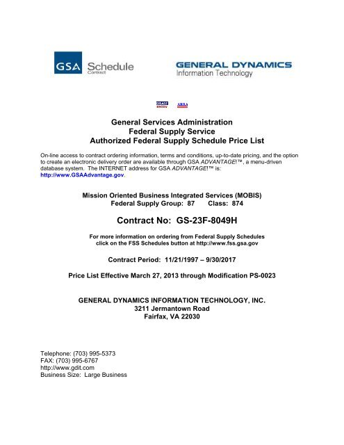 GSA-approved price list - General Dynamics Information