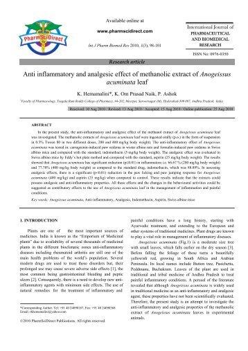 Anti inflammatory and analgesic effect of ... - PharmSciDirect