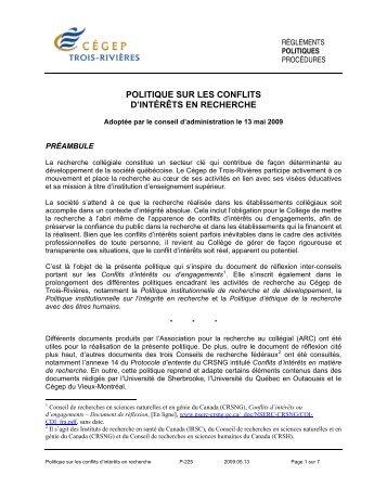 politique sur les conflits d'intérêts en recherche - Cégep de Trois ...