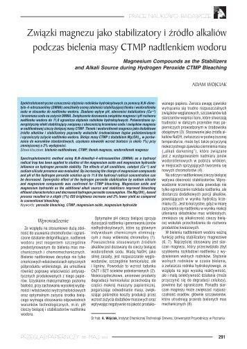 Związki magnezu jako stabilizatory i źródło alkaliów podczas ...