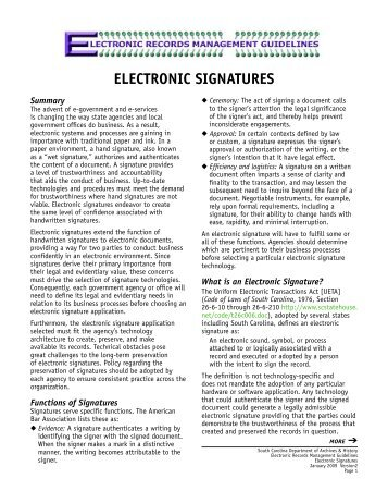 ELECTRONIC SIGNATURES - Records Management