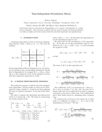 Time-Independent Perturbation Theory - Department of Physics ...