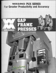 Wasino Gap Frame Presses PUX Series Brochure - Sterling Machinery