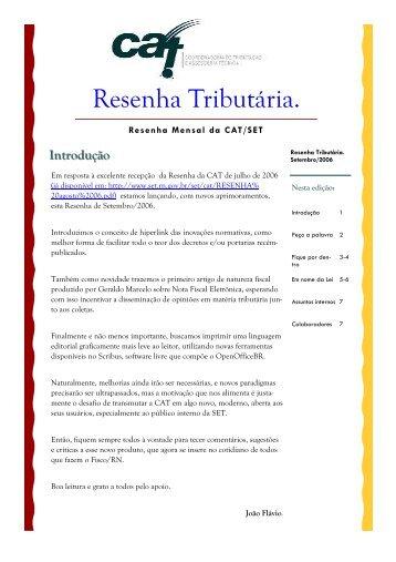 Setembro 2006 - Secretaria de Estado da Tributação