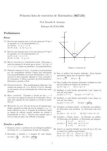 Primeira lista de exerc´ıcios de Matemática (MAT130)