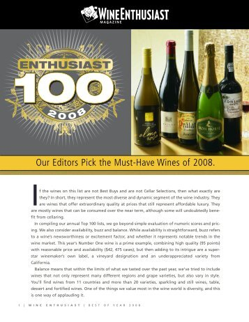 Our Editors Pick the Must-Have Wines of 2008. - O. Fournier