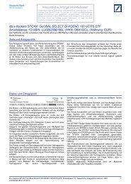 Wesentliche Informationen für den Anleger - ETFs - Deutsche Bank