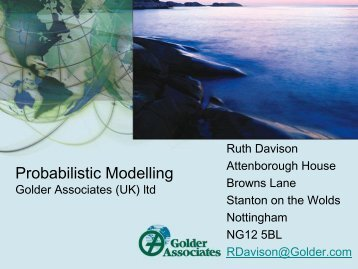 Probabilistic Modelling - The UK Groundwater Forum