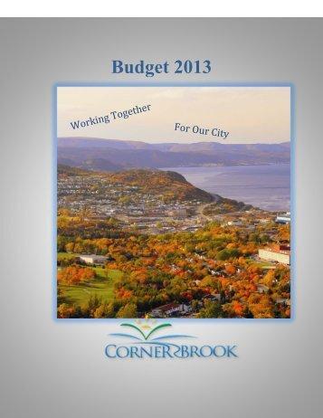 Budget 2013 - City of Corner Brook
