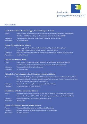 Referenzliste - Institut für pädagogische Beratung eV