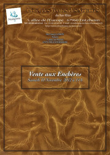 Vente aux Enchères Samedi 10 Novembre 2012 à 14 h - Strasbourg ...