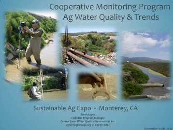 Cooperative Monitoring Program Ag Water Quality & Trends