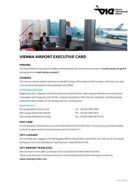 Vienna Airport Executive Card 2013 Flughafen Wien