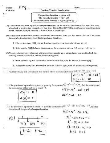 Displacement Velocity And Acceleration Worksheet. Worksheets ...