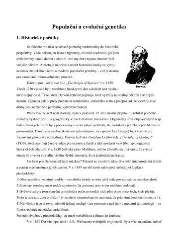 Populační a evoluční genetika 1. Historické počátky