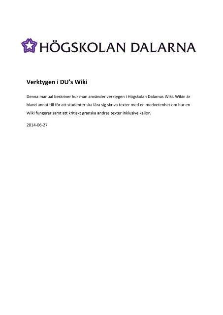 manualen - IKT-pedagogiskt centrum - Högskolan Dalarna