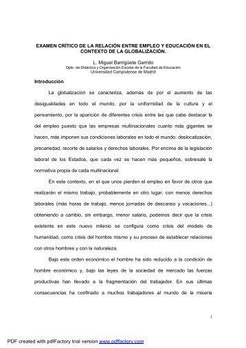 EXAMEN CRÍTICO DE LA RELACIÓN ENTRE EMPLEO Y ...