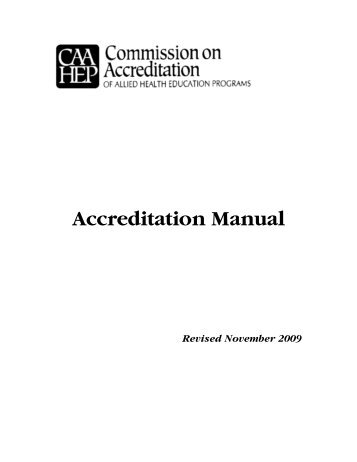 Accreditation Manual - Commission on Accreditation of Allied Health ...