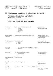 20. Vortragsabend der Hochschule für Musik Virtuose Musik für ...