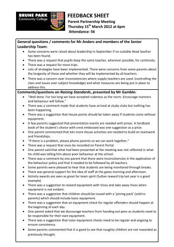 Feedback - 15th March 2012 PDF - Brune Park Community School