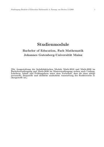 Studienmodule - im Fachbereich Physik, Mathematik und Informatik ...