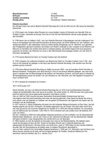 1.0.400 BerendHendriks, nu bakker Meinders - De Hofmarken