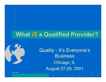 What IS a Qualified Provider?